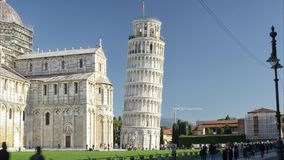 Leaning tower seen in timelapse stock footage
