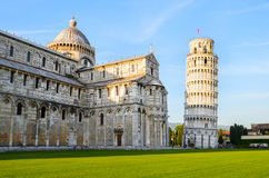 Leaning Tower of Pisa at sunset Stock Photos