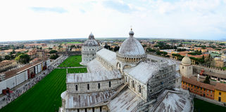 Leaning Tower of Pisa top panorama Stock Photo