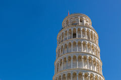 Leaning Tower of Pisa (Torre pendente di Pisa), freestanding bel. PISA, ITALY - SEPTEMBER 2016 : Closeup world famous Leaning Tower of Pisa (Torre pendente di Royalty Free Stock Images
