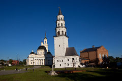 Leaning Tower and the Spaso-Preobrazhensky Cathedral. Nevyansk. Russia. Stock Photos
