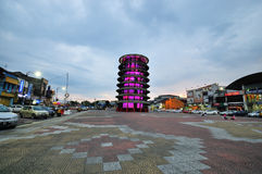 Leaning tower of Teluk Intan at dusk. Stock Photos