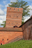 The Leaning Tower in Torun. Poland, part of the medieval city wall fortification from 14th century royalty free stock images