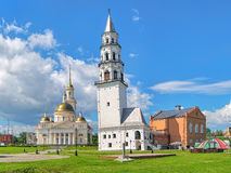 Leaning Tower and Transfiguration Cathedral in Nevyansk, Russia Royalty Free Stock Photography