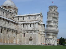 Leaning tower. View of Cathedral and Leaning Tower of Pisa in Italy Royalty Free Stock Image