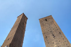 Leaning towers of Bologna. Stock Photos
