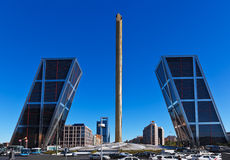 Leaning towers in Madrid Spain Royalty Free Stock Photography