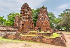 Leaning towers stupa of Wat mahathat at Ayutthaya thai Stock Photos