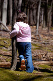 Leaning on a Tree. Four year old girl leaning against a tree Stock Photography