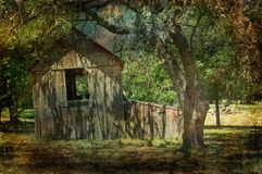 Texas Hill Country Wooden Plank Shed Stock Photos