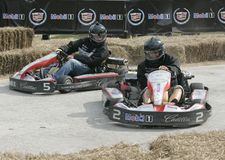 5th Annual Celebrity Cadillac Super Bowl Grand Prix. Leanne Tweeden 2 spins out by Nicky Lachey en route to winning the 5th annual celebrity Cadillac Super Bowl stock image