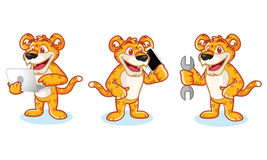 Leaopard Mascot Vector with phone Royalty Free Stock Images