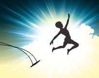 Leap of faith. Illustrated silhouette of a young boy leaping off a swing Royalty Free Stock Photo
