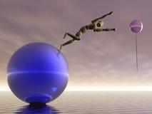 Leap of faith. Manikin leaping toward an balloon Stock Image