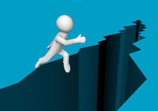 Leap of faith. Render of a person jumping over a chasm Royalty Free Stock Image