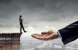 Leap of faith concept . Mixed media Royalty Free Stock Photos