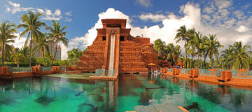 Leap of Faith Waterslide at Atlantis resort Bahamas Stock Images