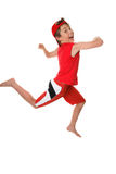 Leap for Joy. Happy healthy boy leaping or running and having fun Royalty Free Stock Images