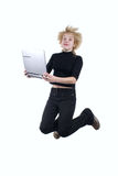 Leap with laptop Stock Photography