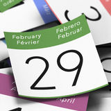 Leap Year February 29th. Calendar where it's written february 29th with a blue thumbtack, leap year day image stock illustration