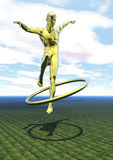 Leaper. A golden acrobat flying through a hoop. This is not based on a real person Stock Photography