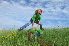 leapfrog active kids playing Stock Image