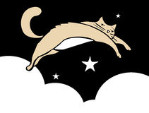 Leaping Cat. Cat leaping thought the sky at night with stars and clouds. White Space good for text Royalty Free Stock Images