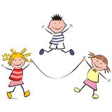 Leaping children. Children playing with skipping rope Royalty Free Stock Images