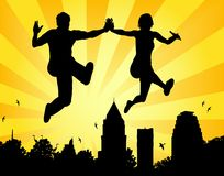 Leaping couple Royalty Free Stock Photography