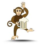 Leaping funny monkey with a pint of beer. Cute signboard for a restaurant, brasserie or beer-house. Vector EPS10 Stock Photos