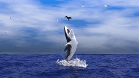 Leaping Great white. A Great White Shark leaping out of the water to catch a seagull vector illustration