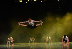 Leaping high-The Huanghe River-Chinese folk dance. June 10, 2015, the Jiangxi Vocational Academy of Art dance show performance Stock Photography