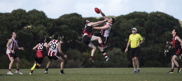 Australian Rules Football - AFL. Two ruck men leap for the ball in a game of local competition Australian Rules Football (AFL Royalty Free Stock Photos