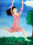Leaping Lady in Between Heaven and Earth. A lady in a pink nightgown is shown leaping for joy while sprinting outdoors in the day with her arms and hands held Royalty Free Illustration