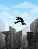 Leaping Over Tall Buildings. An illustration featuring blue sky with a few puffy clouds above a simple city skyline and a man leaping over the tall buildings Royalty Free Stock Photos