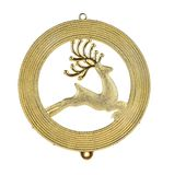 Leaping reindeer glitter Christmas medal. Stock Image