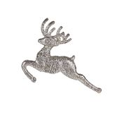 Leaping reindeer glitter Christmas ornament. Royalty Free Stock Photo