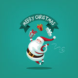 Leaping Santa tossing gifts. EPS 10 vector illustration Christmas greeting card design Royalty Free Stock Image