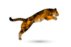 Leaping tiger from polygons Royalty Free Stock Image