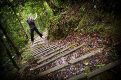 Leaping Woman Jungle Hiker Royalty Free Stock Photo