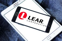 Lear Corporation logo. Logo of Lear Corporation company on samsung mobile. Lear Corporation headquartered in Southfield, Michigan, United States of America, is a Royalty Free Stock Photography