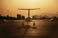 Lear Jet on Tarmac. Lear jet at sunrise, Jet on Tarmac, Ready for take-off, Jet just landed Royalty Free Stock Images