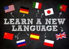 LEAR A NEW LANGUAGE. LEARN A NEW LANGUAGE written concept on chalkboard royalty free illustration