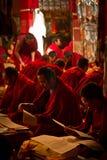 Learing monks of Drepung Monastery Lhasa Tibet. Monks learning scriptures in Drepung Monastery Lhasa Tibet Stock Images