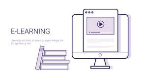 Learing Online Business Concept Elearning Education Template Web Banner With Copy Space Royalty Free Stock Images