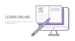 Learing Online Business Concept Elearning Education Template Web Banner With Copy Space. Vector Illustration stock illustration