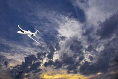 Learjet 45 with Sunset Clouds Stock Photos