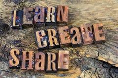 Learn создает letterpress доли Стоковая Фотография RF