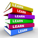 Learn. Ing concept,  words over all the books that are stacked up one another over white background, books in vivid color Stock Images