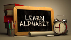 Learn Alphabet Handwritten on Chalkboard Stock Photo
